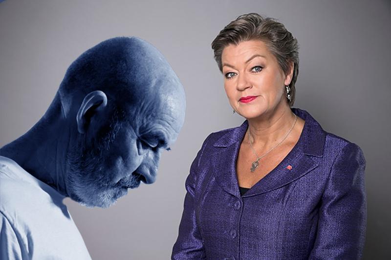 Montage av NewsVoice med pensionär (Crestock.com) och Ylva Johansson (pressfoto från Regeringen.se)