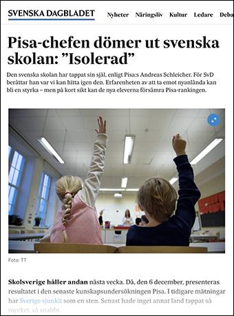 """Pisa-chefen dömer ut svenska skolan: """"Isolerad"""". Skärmdump från SvD.se"""