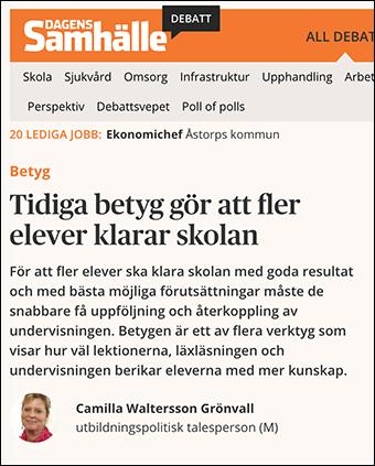 Debatt om tidiga betyg i Dagens Samhälle (skärmdump)
