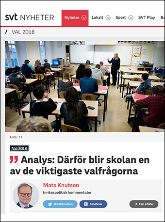Svenska skolans kris en valfråga under valet 2018