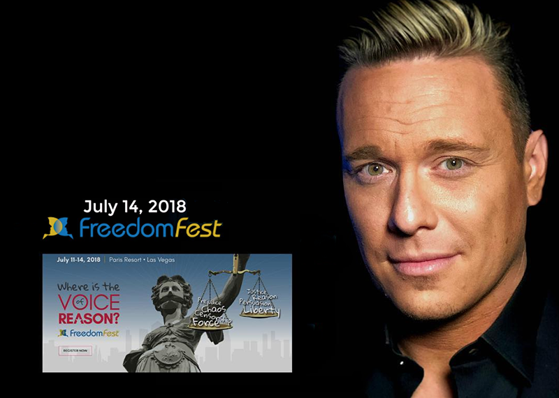 Ben Swann på Freedomfest 2018 i Las Vegas. Pressmontage: NewsVoice