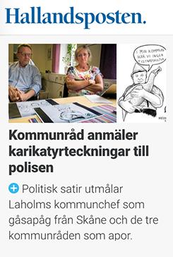Skärmdump från Hallandsposten