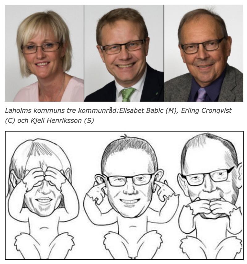Kommunråden Elisabet Babic (M), Erling Cronqvist (C) och Kjell Henriksson (S) i Laholms kommun polisanmälde Medborgerlig Samling för denna karikatyr.