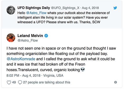 Leland Melvin skriver på Twitter om ett organiskt object