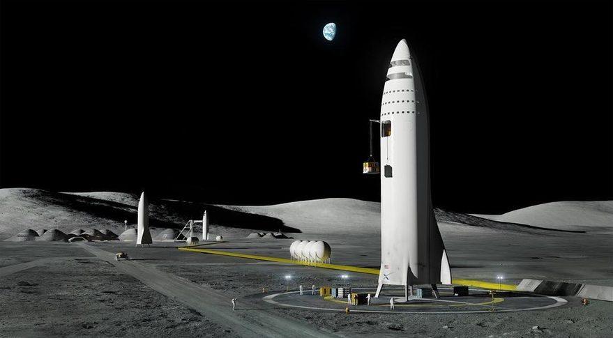 Big Falcon Rocket kan starta och landa vertikal. Här står några BFR på en tänkt månbas. Pressbild: SpaceX.com