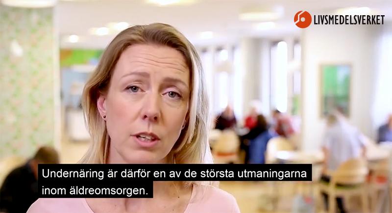 """Bild från Livsmedelsverkets film: """"Måltider i ädreomsorgen"""", 2018. Montage: NewsVoice"""