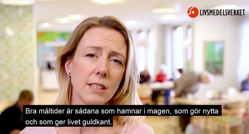 """Bild från Livsmedelsverkets film:""""Måltider i ädreomsorgen"""", 2018."""