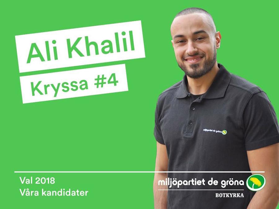 Miljopartisten Ali Khalil - Valaffisch: MP