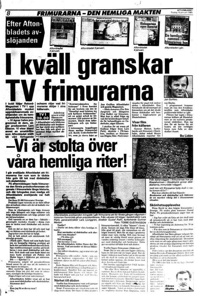 Aftonbladet 15 januari 1985 - Artikel om frimurarna