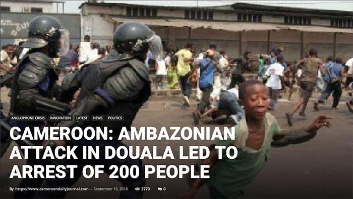 Doula violence in September 2018. Photo: Cameroondailyjournal.com