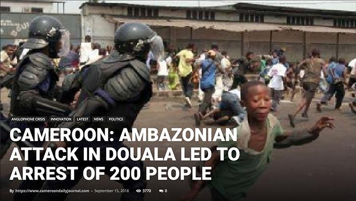 Doula violence in September 2018. Photo: Cameroondailyjournal.com