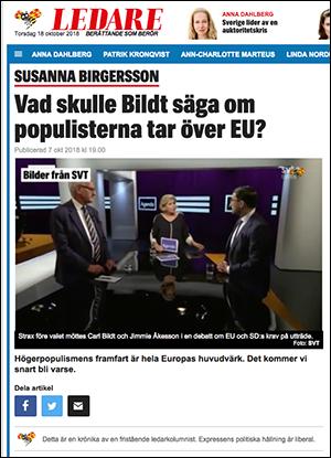 Dump från Expressen, Ledare 7 okt 2018
