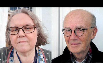 Katarina Ramsberg Enegren (selfie) och -Lars Bern (foto: NewsVoice) debatterar om cancer.