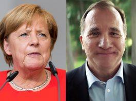 Angela Merkel. Foto: Sven Mandel, CC BY SA 4.0. Stefan Löfven. Pressfoto: Socialdemokraterna. Montage: NewsVoice.se