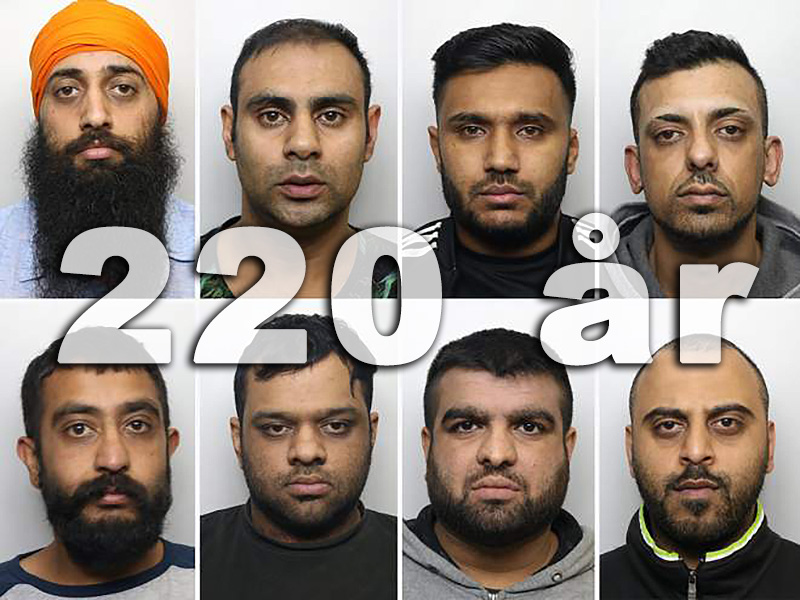 Amere Dhaliwal, Irfan Ahmed, Zahid Hassan, Mohammed Kammer, Mohammed Rizwan Aslam, Abdul Rehman, Raj Singh Barsran, Nahman Mohammed were convicted in the first trial. Photos: West Yorkshire Police, UK