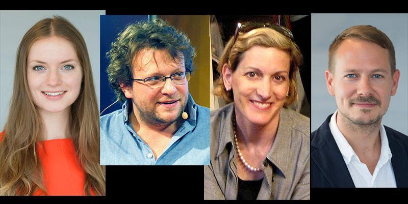 Chloe Colliver (pressfoto, ISD) Peter Pomerantsev Anne Applebaum (Slawek, Wikimedia)Jonathan Birdwell (pressfoto, ISD). Montage NewsVoice.se
