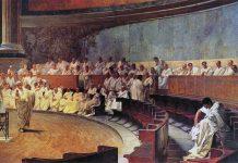 """Cicerone denuncia catilina"". Målning av Cesare Maccari (1840-1919), public domain, Wikipedia"