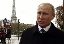 Putin i Paris den 11 nov 2018. Foto: RT France