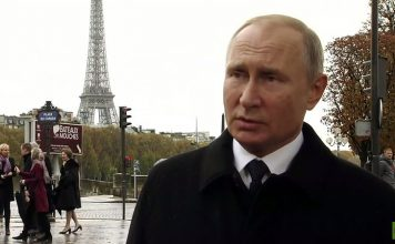 Putin i Paris den 11 nov 2018. Foto: RT France