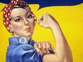 Statsfeminism - Bild från 1943 av J.-Howard-Miller, amerikansk krigspropaganda.