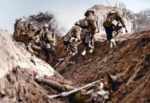 Brittiska soldater i skyttegrav från första världskriget. Hulton Archive, Public Domain