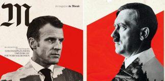 Emanuel Macron (Le Monde) och Adolf Hitler (Harpers Bazaar)