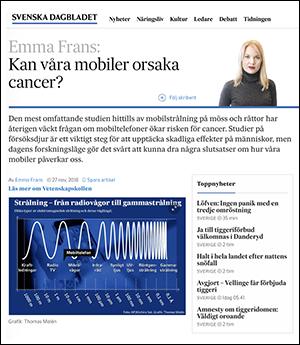 Emma Frans för Vetenskapskollen i SvD 27 nov 2018, skärmdump