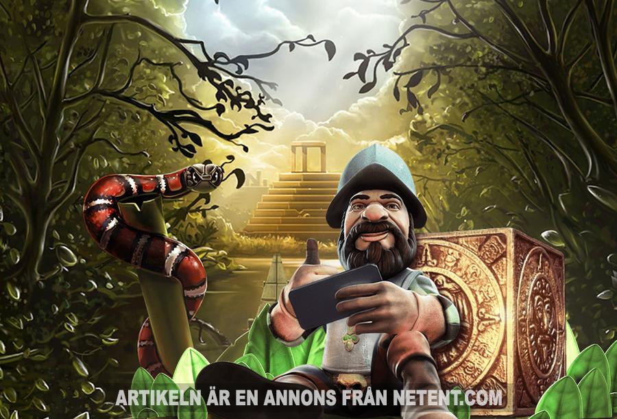 Gonzos Quest - Bild: Netent.com. Montage: Newsvoice.se