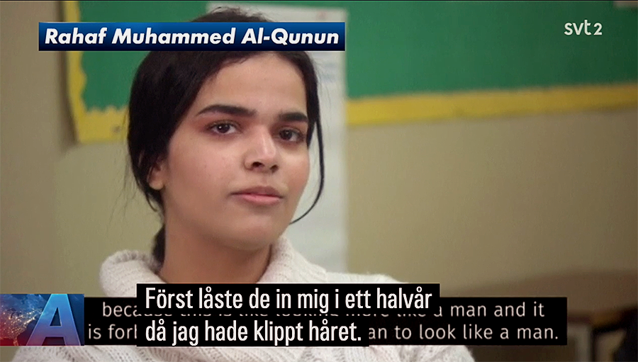Rahaf Mohammed al-Qunun uttalar sig om Islam med textning av SVT. Videokälla: Le Télé Journal