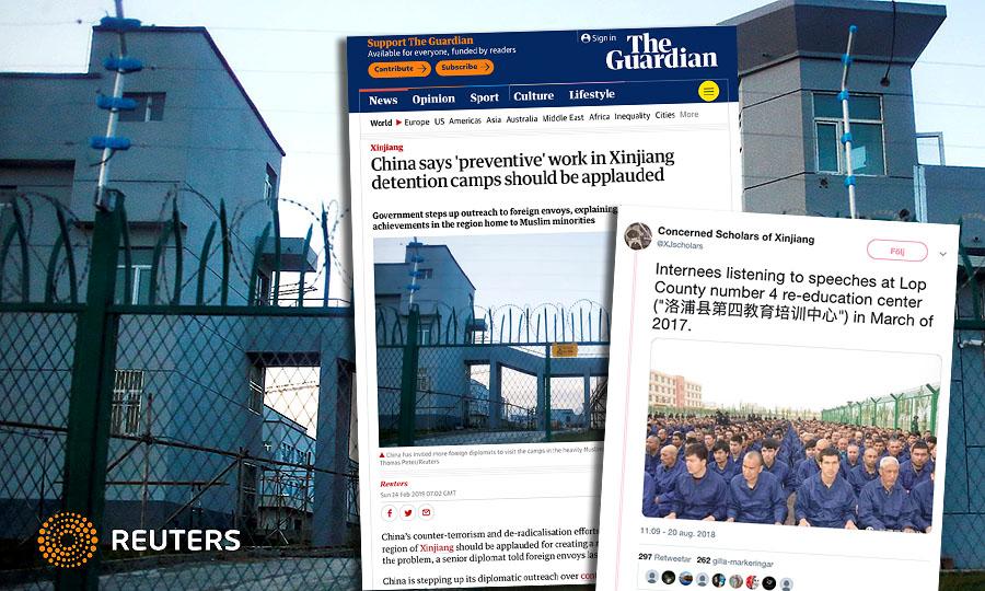 Omskolningsfängelse för muslimer i Kina. Foto: Thomas Peter, Reuter. Montage: NewsVoice (skärmdumpar från The Guardian och Twitter)