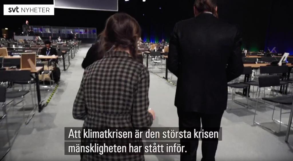 Miljö-Greta den 12 dec 2018 i Katowice. Foto: SVT Nyheter