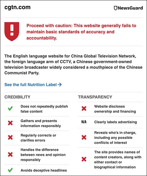NewsGuard bedömer kinesiska CGTN
