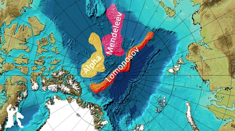 Ryssland gör anspråk på stora områden av havsbotten på och runt Nordpolen. Karta: Caspian Report