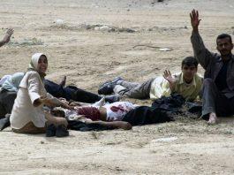 Skakade och chockade civila under Irakkriget. Fotograf okänd
