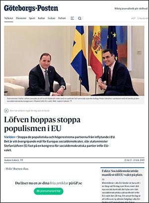 Stefan Löven visar Spanien hur man ska göra. Skärmdump: Artikel i GP.