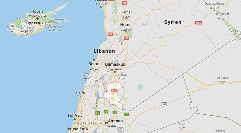 Dar'a-provinsen i Syrien. Karta: Google Maps