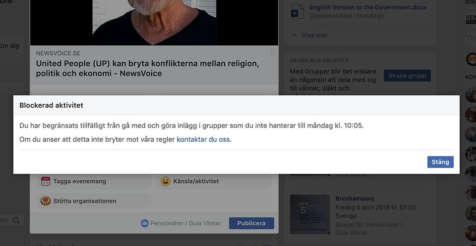 Facebook blockerade NewsVoice redaktör 29 mars 2019