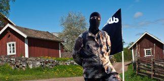 Temabild: Islamska Staten i Sverige ISIS. Montage: NewsVoice. Bakgrundsfoto: Mostphotos.se
