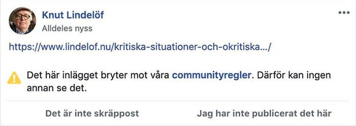 Knut Lindelöf får inte posta en länk till en översatt artikel av Pål Steigan.
