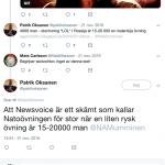 Patrik Oksanen kommenterar NewsVoice på Twitter, 2016