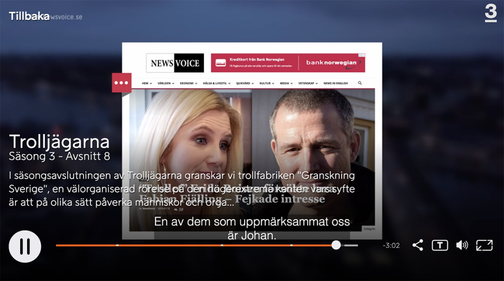 TV3 Trolljägarna, säsong 3 avsnitt 8, 2019. En skädmdump från NewsVoice visas upp under en sekund. Bild: skärmdump
