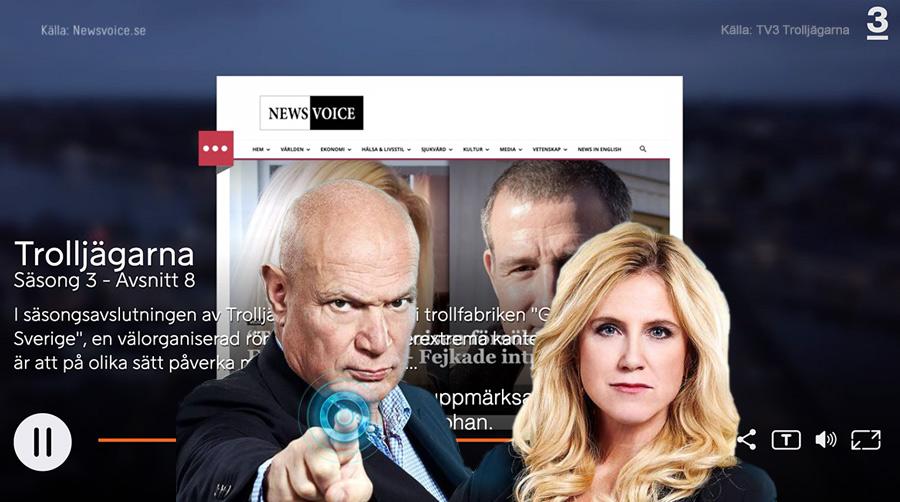 Trolljägarna på TV3 med Robert Aschberg och Frida Boisen. Montage: NewsVoice