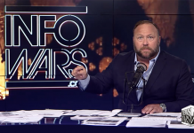 Alex Jones 16 april 2019. Foto: InfoWars (skärmdump)