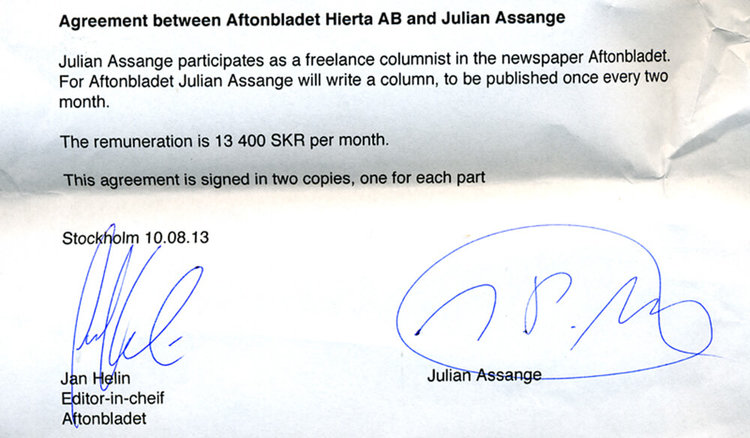 Kontraktet mellan Assange Aftonbladet, 2010
