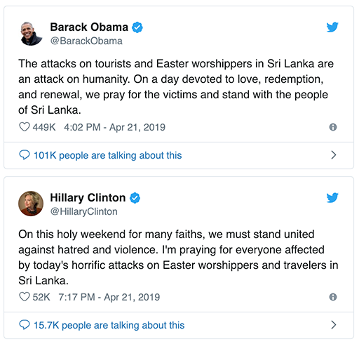 Easter worshipers - Twitter: Obama clinton Sria Lanka attacks 2019