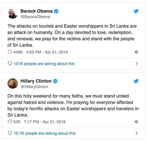 Easter worshipers - Twitter: Obama clinton Sria Lanka attacks 2019