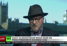 George Galloway om gripandet av Julian den 11 April 2019. Foto: RT.com