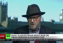 George Galloway om gripandet av Julian den 11 April 2019. Foto: RT.com