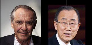 Jan Eliasson (foto: Daniel Holking, CC BY 3.0) och Ban Ki-moon (foto: Chatham House, CC BY 2.0), Wikimedia Commons