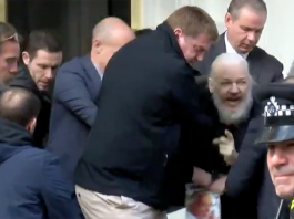 Julian Assange grips den 11 april 2019 - Foto: RT.com